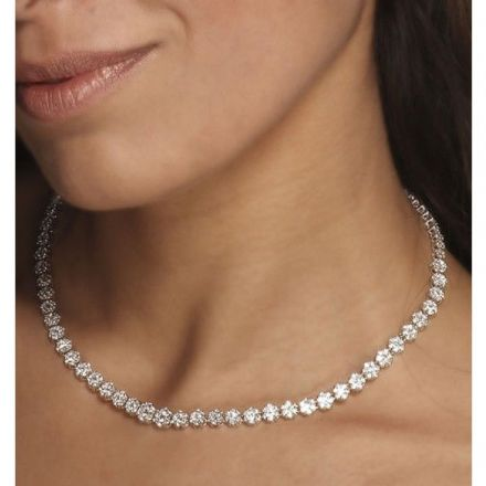 18K White Gold 7.00ct H/si Diamond Necklace, DN01-7HSW